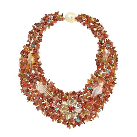 Handmade Secret Autumn Flower Multi Stone Collar Necklace (Philippines)