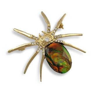 Opalescent Rhinestone Accented Goldtone Spider Brooch Pin