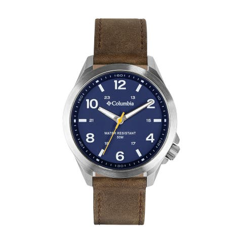 Columbia CSS10-002 Stainless Analog Blue Dial Brown Leather Strap Watch
