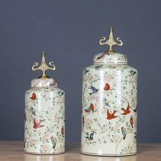G Home Collection Luxury Handcrafted Bird Pattern Accent Porcelain Jar With Copper Lid