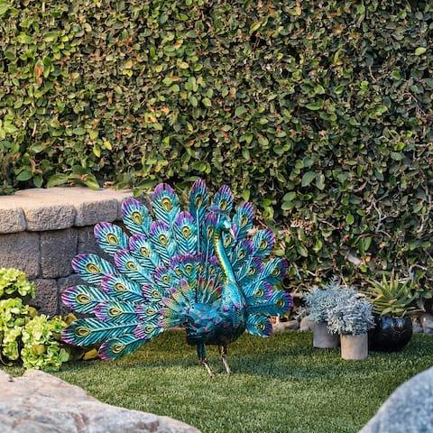 Alpine 23-Inch Metallic Peacock Tail Spread Yard Statue, Multicolor