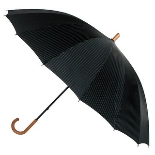 Leighton 60 Inch Wood Handle Pin Stripe Print Doorman Umbrella - One size