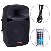 Costway Portable 15'' 1000W 2-way Powered Speaker Bluetooth USB/SD/FM w Remote Control - black