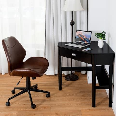 Corner Computer Desk Table Wooden Workstation Corner Laptop Desk