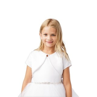 Girls White Short Sleeved Rhinestone Trim Satin Bolero Jacket