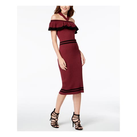 XOXO Womens Burgundy Ruffled Sweater Off Shoulder Midi Cocktail Dress Juniors Size: XXL