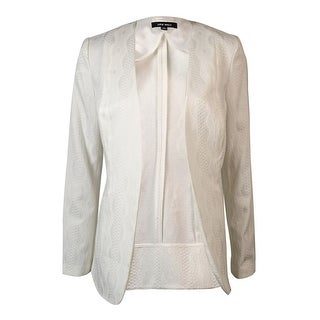 Nine West Women's Collarless Textured Jacquard Open-Front Blazer - Ivory