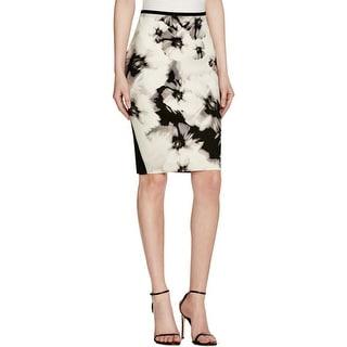 T Tahari Womens Bandage Skirt Floral Print Side Zip