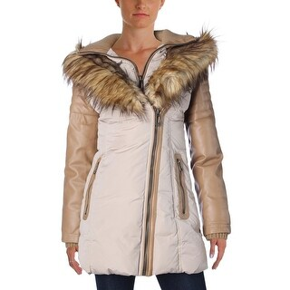 Noize Womens Lacy Parka Faux Leather Trim Hooded
