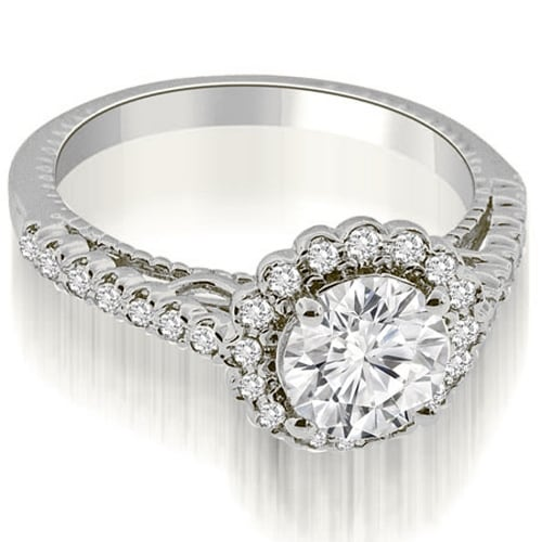 0.95 cttw. 14K White Gold Antique Style Halo Round Cut Diamond Engagement Ring