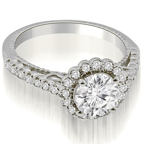 1.20 cttw. 14K White Gold Antique Style Halo Round Cut Diamond Engagement Ring