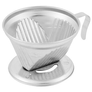 Stainless Steel Dripper Reusable Coffee Filter Cup Stand 1-4 Cups Silver Tone