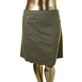 Tommy Hilfiger Womens Khaki Pocket A-Line Skirt