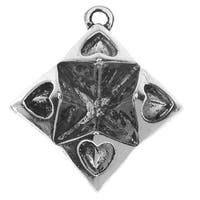 Lead-Free Pewter, Oragami Fortune Teller 20.5x23.5mm, 2 Pieces, Antiqued Silver