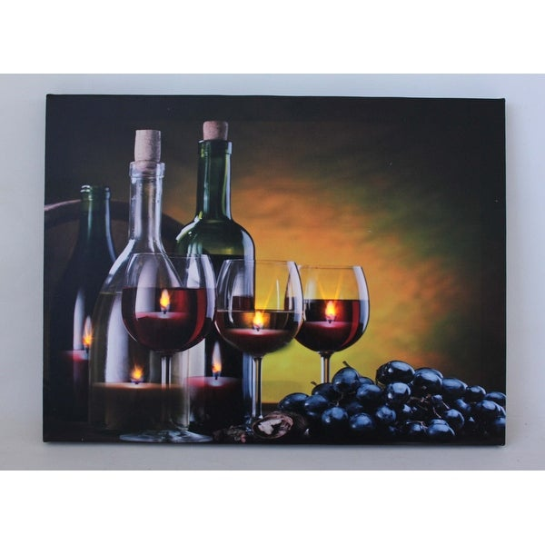 "LED Lighted Flickering Wine Grapes and Candles Canvas Wall Art 11.75"" x 15.75"""