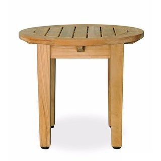 18 5 Natural Teak Wooden Outdoor Patio Round Side Table With Tapered Legs Brown Ping The Best Deals On Coffee Tables