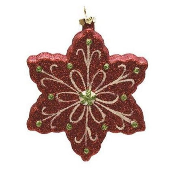 """4.25"""" Merry & Bright Red, White and Green Glitter Shatterproof Snowflake Christmas Ornament"""