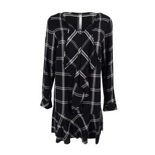 Kensie Women's Long Sleeve Plaid Ruffle Dress