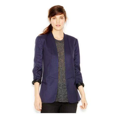 RACHEL ROY Womens Navy Collared Suit Wear to Work Jacket Size 8