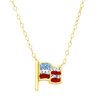 Crystaluxe Teeny Tiny American Flag Necklace with Swarovski Crystals in 10K Gold