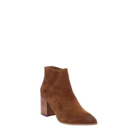 Aqua Dante Leather Almond Toe Ankle Fashion Boots Tan Suede