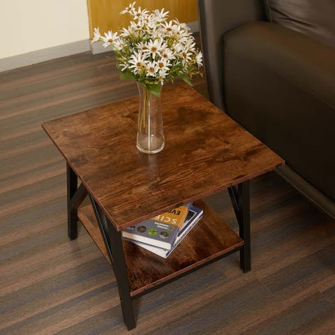 CO-Z Industrial Farmhouse Wood and Metal End Table with Storage Shelf