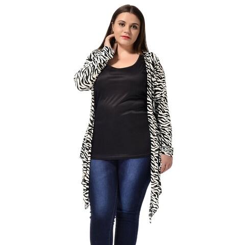 Allegra K Womens Plus Cardigan Plus Size Zebra Prints Open Front Drape Cardigan - Black