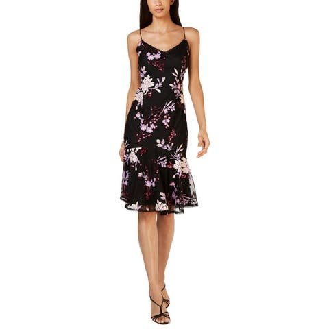 Adrianna Papell Womens Petites Cocktail Dress Floral Sequined - Pinot Noir