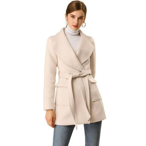 Allegra K Women's Shawl Collar Lapel Belted Coat w Pockets Apricot L - Cream White
