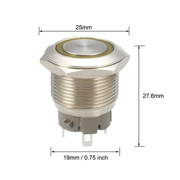 Momentary Metal Push Button Switch 19mm Mounting Dia 1NO 24V Yellow LED Light