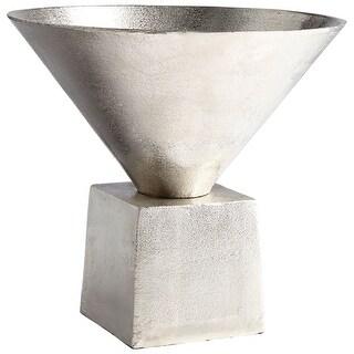 "Cyan Design 08905  Mega 12"" Diameter Aluminum Vase - Raw Nickel"