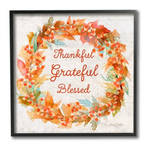 Stupell Industries Autumn Foliage Wreath Thankful Grateful Blessed Text Framed Wall Art, 12x12