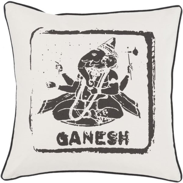 "18"" Coal Black and Ivory Ganesh Big Kid Blocks Decorative Square Throw Pillow"