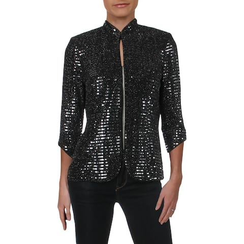Alex Evenings Womens Knit Blazer Knit Sequined - S
