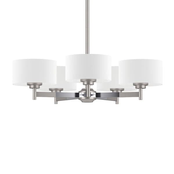 """Park Harbor PHHL6295 Highfield 25"""" Wide 5-Light Single Tier Empire Style Chandelier with Drum Shade - brushed nickel and chrome"""
