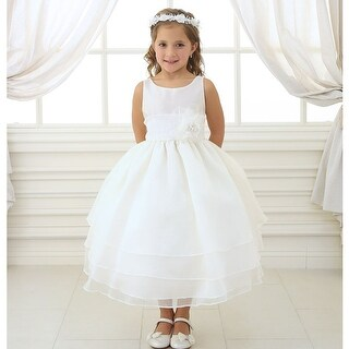Little Girls Ivory Floral Sash Flower Girl Dress 2T-6