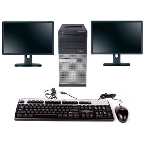 "Dell 7010 TWR i5 3470 16GB 2TB, W10 Pro 2X22"" LCD Refurbished"
