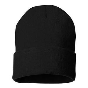 Sportsman 12 Inch Knit Beanie - Black - One Size