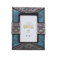 "Tough-1 Western Photo Frame Leather Look 4"" x 6"" Turq"
