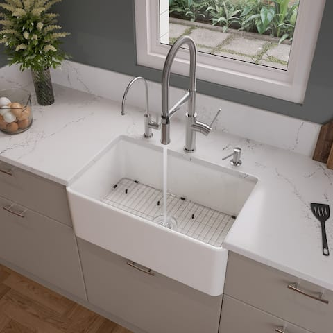 "ALFI brand ABF3018 30"" White Thin Wall Single Bowl Smooth Apron Fireclay Kitchen Farm Sink"
