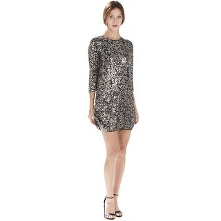 Parker Black 3/4 Sleeve All Over Embellished Cocktail Evening Dress - 10