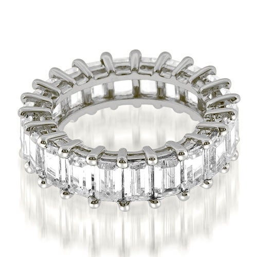 5.50 cttw. 14K White Gold Exquisite Shared Prong Emerald Diamond Eternity Ring