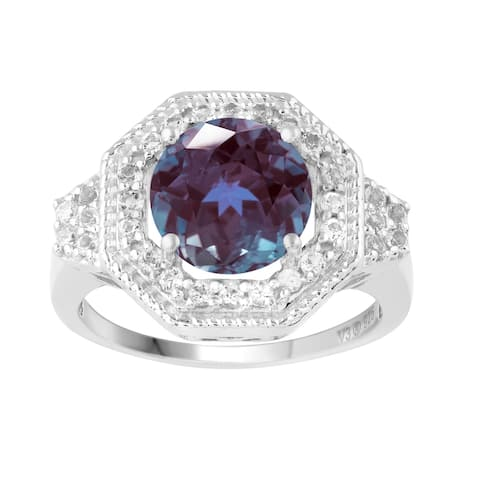 Sterling Silver with Color Changing Alexandrite and Natural White Topaz Halo Ring