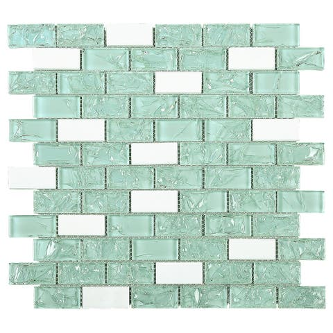 "TileGen. Crushed 1"" x 2"" Crackle Glass and Stone Mosaic Tile in Green/White Wall Tile (10 sheets/9.6sqft.)"