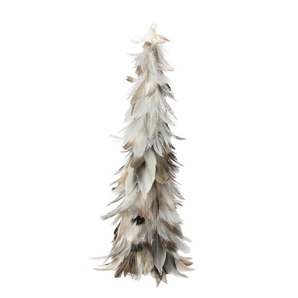 "15.5"" Light Brown and Gray Glittered Feather Cone Tree Christmas Decoration"