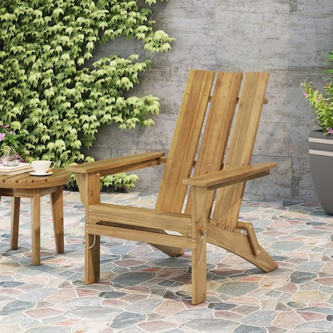 Zuma Outdoor Contemporary Acacia Wood Foldable Adirondack Chair by Christopher Knight Home