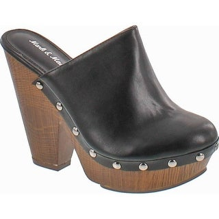 Mark And Maddux Antonio-06 Wood Effect Platform Women's Clogs In Black