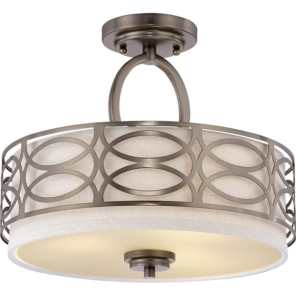 "Nuvo Lighting 60/4729 Harlow 3 Light 15"" Wide Semi-Flush Drum Ceiling Fixture"