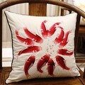 "Luxury Red Fish Embroidered Pillow 18""X18"" - Thumbnail 0"