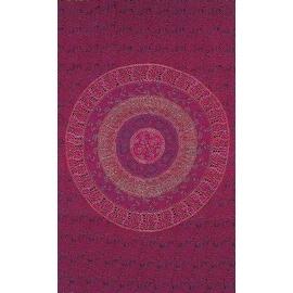 Handmade Sanganer Mandala 100% Cotton Tapestry Throw Tablecloth Bedspread Full 88x106 Twin 70x106 Burgundy